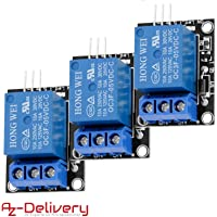 AZDelivery 3 x KY-019 Relais Module 5 V avec Optokoppler pour Arduino y compris un eBook