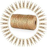 ABSOFINE 328 Pieds Ficelle de Jute et 100 pièces Mini en Bois Naturel Craft Pinces à Linge Craft Pinces à Linge Clips pour Ja