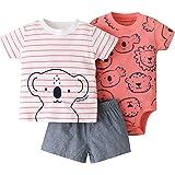 Bebé Ropa Mamelucos + Camiseta + Pantalón 3Pcs Trajes, Peleles Manga Corta Algodón Monos Recién Nacido Regalo Verano Niños Ni
