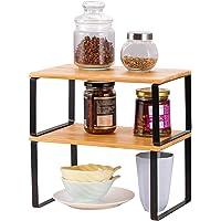 LIANTRAL Lot de 2 étagères pour armoire de cuisine | Organisateur d'étagère de cuisine extensible et empilable pour plan…