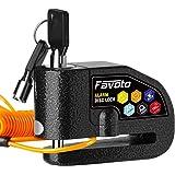 Favoto Motor Remschijfslot Alarm Schijfslot 110 dB Luid Motorfiets Slot Fietsslot met Trilalarm 1.2 m Herinneringskabel