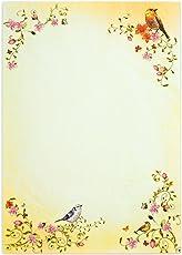 TOSKANA Briefpapier Vögel (50 Blatt) A4 297 x 210 mm 90 g/qm mit Blumen