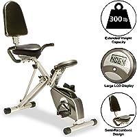 Exerpeutic 400XL Vélo d'appartement couché pliable avec capteurs de pouls intégrés, poids maximum utilisateur de 136kg