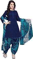 Rajnandini Women's Cotton Patiala Dress Material(JOPLVSM3852_Blue_Free Size)