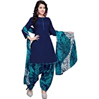 Rajnandini Women's Cotton Printed Dress Material(JOPLVSM3852_Blue_Free Size)