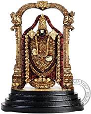 Pleasantino - Car Dashboard / Desktop Statue Hindu God Lord Venkateswara - Balaji Wood Carved figurine - Size - 3.25""