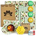 BIOZECO® Lot Complet de 6 Emballages Alimentaires Réutilisables en Cire d'Abeille – Bee Wrap Écologiques et Lavables de Plusi
