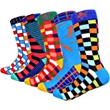 HIWEAR Mens Colorful Funky Cool Design Rich Cotton Comfort Dress Crew Socks 5 Pack