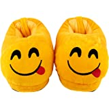Qualtos Yellow Smiley Warm Shoes Emoji Bedroom Slipper Free Size Indoor Slipper Funny Soft Plush for Adults Kids Teens…