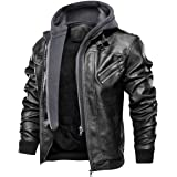 moxishop Men's PU Leather Biker Motorcycle Hooded Jacket Coat with Removable Hood Autumn Winter Cool Jacket
