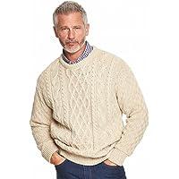 Mens Aran Jumper Cable Warm Sweater Top