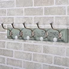 Casa Décor Distressed Pastel Green Mdf Rail/Rack 24.4-Inch 5 Decorative Metal Pegs