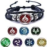 Armband voor dames, uniseks, Genshin, impactspelelement, badge, armband, met 6 reserveonderdelen voor studenten, volwassenen,