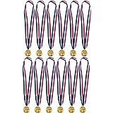 """Juvale Gouden medailles voor voetbalspel - 12-Pack metalen medailles - 2"""" in diameter met 79 cm lint, goud, metaal"""