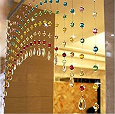 Discount4product Acrylic Crystal Bead and Glass Drops Arch Shape Rainbow Curtain for Partition Spaces Wedding Home Hotel Shop Decoration