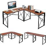 VECELO Table d'Ordinateur, Table d'angle en Bois et Acier Noir, Table Informatique pour Maison et Bureau (Brun 1)