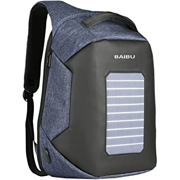 Fashion Men Anti-theft Backpacks USB Design Solar Charge 15.6 Inch Laptop Business Backpack Waterproof Travel Bag (blue)