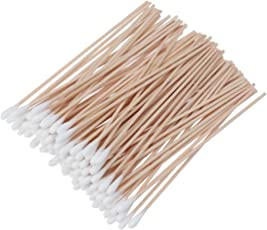 SUPVOX Cotton Swabs 100Pcs Long Wood Handle Medical Swabs Ear Cleaning Wound Care Cotton Buds Sanitary Round Cotton Tip Swab