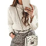 CORAFRITZ - Jersey de manga larga para mujer, color sólido, para mujer
