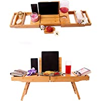 Miro Plateau de bain en bois de bambou. Support de table de lit pour ordinateur portable, IPad, téléphone, tablette et…