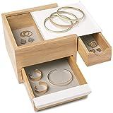 UMBRA Mini Stowit white. Coffret à bijoux - Rangement moderne pour objets et souvenirs avec tiroirs à compartiments cachés po