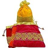 WS Wrap Shap Velvet Lace Potli Batwa Bag Bridal Purse Women handbag Shagun Pouch Return Gifts