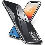 "vau Clear Case compatibel met iPhone 12 Pro Max (6.7 "") - hoes van pantserglas (transparant, hard anti-geel) + siliconen (tra"