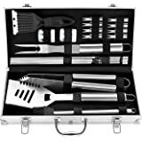 ROMANTICIST 20pcs Stainless Steel Barbecue Tools Set - Professional Stainless Steel Barbecue Accessories Kit for Men Dad Wome