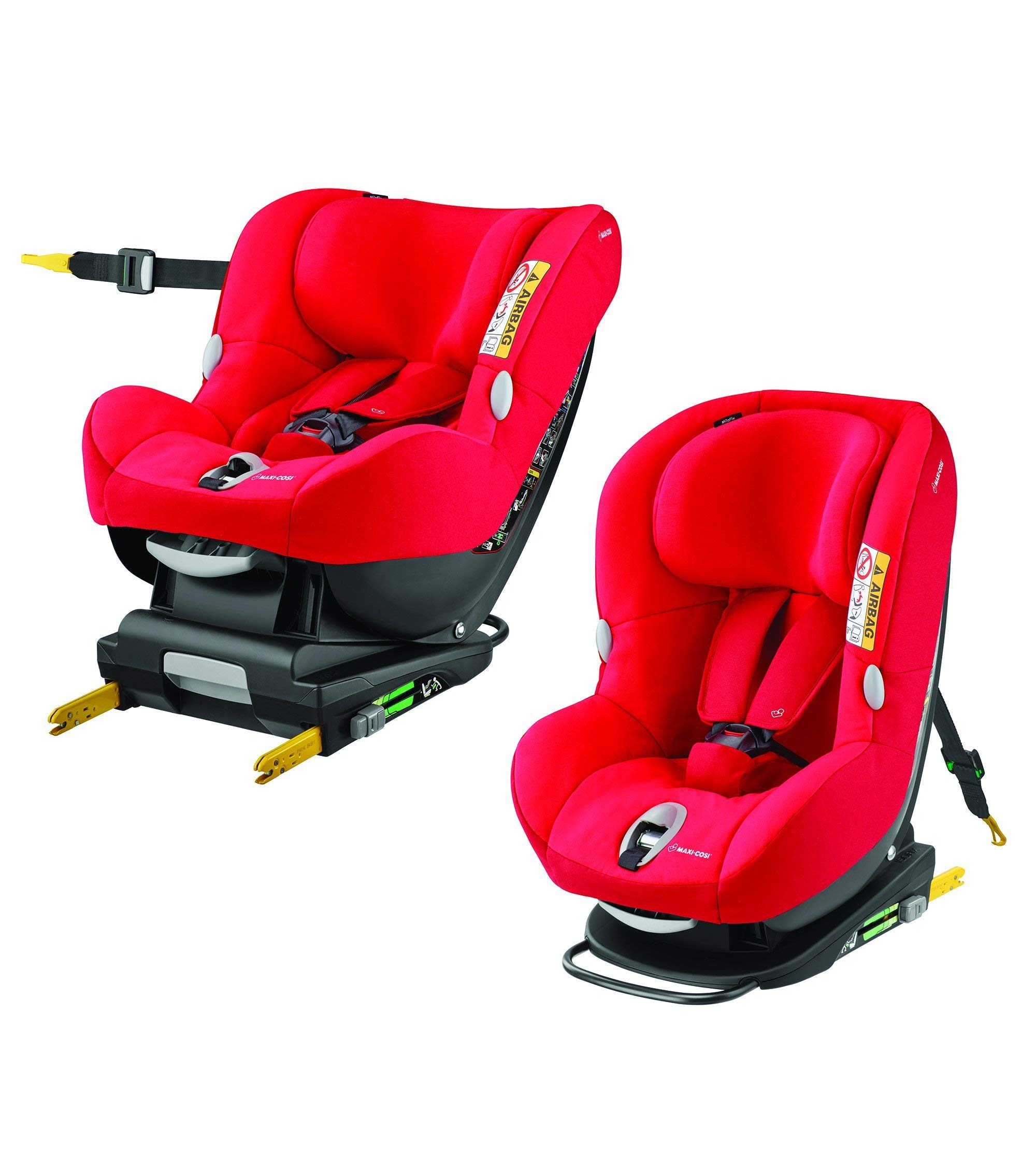 Maxi-Cosi MiloFix ISOFIX Combination Car Seat, Group 0+/1 car seat, Rear and Forward-facing, 0-4 years, 0-18 kg, Vivid Red Maxi-Cosi Rear and forward facing group 0+/1 car seat, suitable from birth to 18 kg (birth to 4 years) i-Size car seat, extended rearward-facing travel up until 18 months Padded seat and angled base provide additional leg room in rear-facing position 6