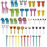 AIEX 52 Stück Cartoon Zahnstocher Lebensmittelqualität Gabel Picks für Kinder Bento Box Süße Mini Zahnstocher für Kinder Erwa