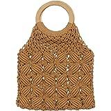 VALICLUD Frauen Handgemachte Gewebte Einkaufstasche Mädchen Strand Handtasche Hohle Clutch Tasche Einkaufsnetz Tasche-Weiß