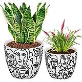 CODREAM Lot de 2 pots de fleurs en céramique – Pot de fleurs artistique en porcelaine solide avec cache-pot décoratif – Blanc