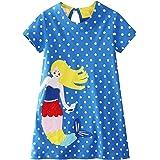 1-7 Años Vestido Casual de Manga Corta para Niña Algodón Primavera-Verano Caricatura Vestidos de Niñas con Lunares, Sirena, A