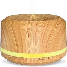 Neelodony 450ml Grosse Leistungsfähigkeit Diffusor Aromatherapie Holzmaserung Aroma Diffuser mit 4 Verschiedenen Timer-Einstellungen und 8 Verschiedenfarbigen LED Leuchten
