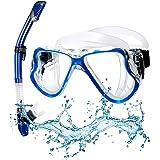 Set Snorkeling con Maschera Subacquea, Anti-fog Maschera Snorkeling Panoramica Pieno Facciale Maschera Sub, Facile Cinghia Re