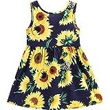 EULLA Vestido de verano para niña, diseño de flores, sin mangas, talla 2-7 años