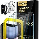 iVoler [4 Unidades] Protector de Pantalla para iPhone XR y iPhone 11 con Ayuda de posicionamiento, [2 Pack] Protector de lent