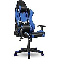 Gaming Stuhl Bürostuhl Gamer ergonomischer Schreibtischstuhl, Drehstuhl mit Kopfkissen und Lendenkissen, Chefsessel von…