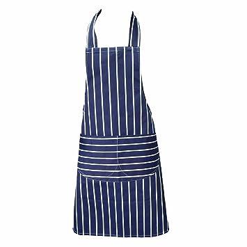 Chefs Apron, Blue, Kitchen Apron, Double Pockets, Machine Washable,  Suitable For