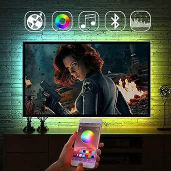 Strisce LED, retroilluminazione a LED con cambio colore APP, illuminazione bias RGB alimentata tramite USB per TV, camera da letto, sincronizzazione con musica per feste, Android/iOS