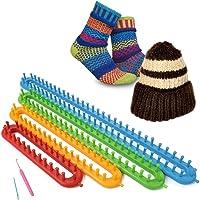 SOLEDI Kit tricot avec Aiguilles Crochet et Métiers à tricoter en plastique pour réaliser Chaussettes Chapeaux Châles…