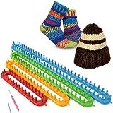 SOLEDI Kit tricot avec Aiguilles Crochet et Métiers à tricoter en plastique pour réaliser Chaussettes Chapeaux Châles Écharpe