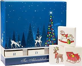 """Schubladen Tee Adventskalender - mit 24 koffeinfreien Tees in Pyramidenbeuteln, mit Honigsticks und kunstvollen""""Baumschmuck-Schachteln"""""""