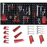 LZQ Gereedschapswand gereedschapswand gatenwand van metaal met 17-delige hakenset 120 x 60 x 2 cm zwart en rood gereedschapsw