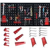LZQ Panneau mural perforé, en métal - 120 x 60 x 2 cm- 17 crochets assortis- Noir/Rouge - Panneau à outils