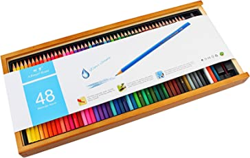 Bianyo Artist Quality Watercolor Pencil Set – 48 Colored Pencils with Free Blending Brush in Wooden Case