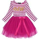 Fymnsi - Vestito per compleanno per neonate, 1° / 2° / 3° compleanno, a maniche lunghe, con corona dorata, in tulle stampato,