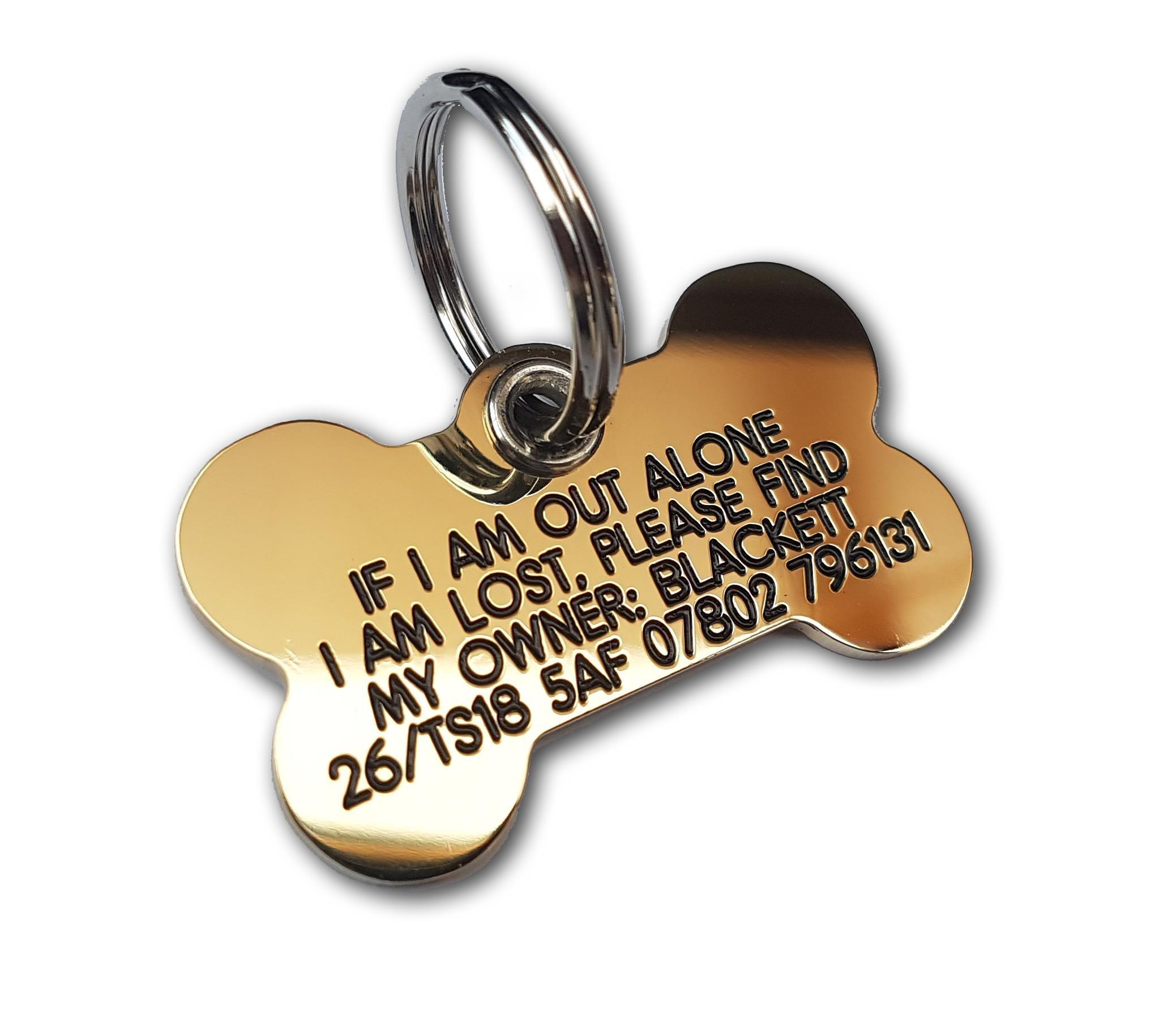 REINFORCED deeply engraved solid brass Bone dog tag