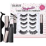 CALAILIS Magnetic False Eyelash and Magnetic Eyeliner Kit, Eye Makeup Waterproof Liquid Eye Liner, 3D Faux Mink Eye Lashes Na