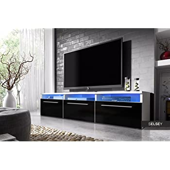 Selsey Lavello Meuble Tv Blanc Fronts Noir Brillant Avec Led